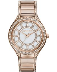 Michael Kors Midsize Rose Golden Stainless Steel Kerry Threehand Glitz Watch - Lyst
