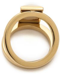 Rebecca Minkoff | Rectangle Metal Stud Ring Gold | Lyst