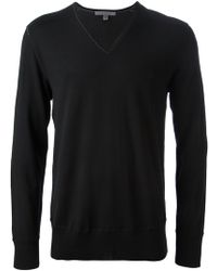 John Varvatos Black Vneck Sweater - Lyst