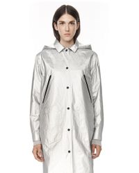 Alexander Wang Laminated Coat With Detachable Hood - Lyst
