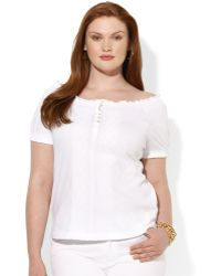Lauren by Ralph Lauren Plus Size Shortsleeve Smocked Top - Lyst