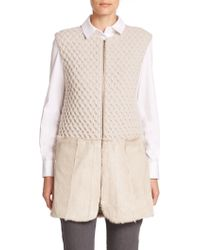 Piazza Sempione Shearling-Trimmed Knit Vest beige - Lyst