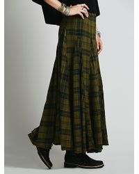Free People Sienna Plaid Maxi Skirt - Lyst