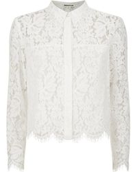 Whistles Chay Lace Cropped Shirt - Lyst