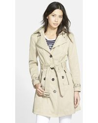 Steve Madden Single Breasted Hooded Trench Coat - Lyst