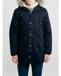 Topman Navy Heavyweight Hooded Parka - Lyst