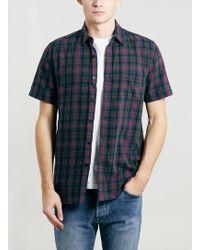 Topman Green Tartan Short Sleeve Shirt - Lyst