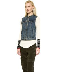Free People Rugged Ripped Denim Lace Up Vest - Indigo - Lyst