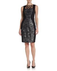 Jax Metallic Lace-Paneled Dress - Lyst