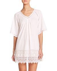 Oscar de la Renta Lace-Trimmed Cotton Sleepshirt white - Lyst