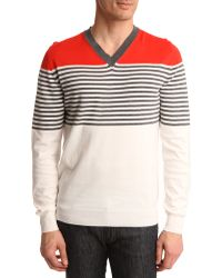 Dunhill | Red, Navy And White Striped V-neck Sweater | Lyst