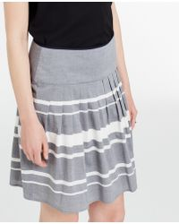 Ann Taylor Striped Cotton Full Skirt gray - Lyst