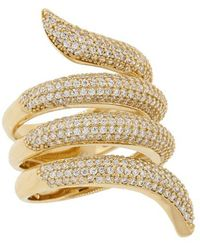 Pori - 18k Yellow Plated Sterling Silver Snake Tail Wrap Around Cz Ring - Lyst