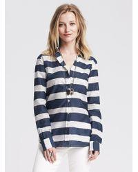 Banana Republic Soft-Wash Rugby Stripe Boyfriend Shirt blue - Lyst