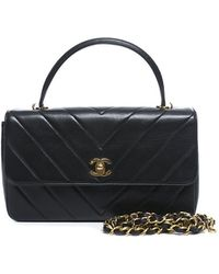 Chanel Pre-Owned Chevron Top Handle Chain Flap Bag - Lyst