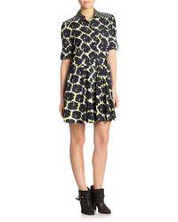 DKNY Silk Mixed-Print Dress - Lyst