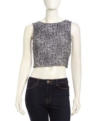 Joie Sleeveless Graphicknit Cropped Top - Lyst