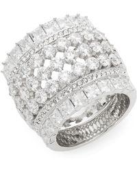 Adriana Orsini - Opulent White Stone Barrel Ring/silvertone - Lyst