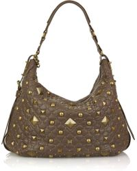 DKNY Studded Leather Shoulder Bag - Lyst