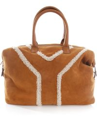 Saint Laurent Suede and Shearling Bag - Lyst