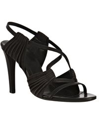Balenciaga Anthracite Pleated Suede Sandals - Lyst