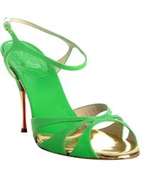 Christian Louboutin Lime Green Patent Leather Noeudette Sandals - Lyst