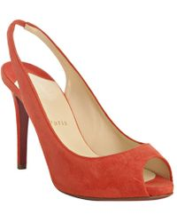Christian Louboutin Red Suede Lady Sling 100 Slingback Pumps - Lyst
