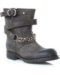 Pan E Tulipani Biker Boots gray - Lyst