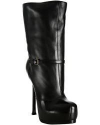 Saint Laurent Black Leather Tribtoo 105 Platform Boots - Lyst