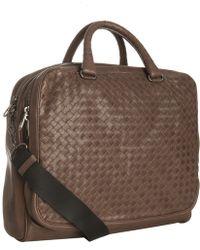 Bottega Veneta Brown Woven Leather Crossbody Briefcase - Lyst
