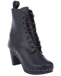 Swedish Hasbeens Lace-up Booties - Lyst