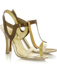 Sergio Rossi Metallic Leather Sandals - Lyst
