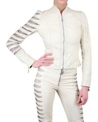 Sonia Villa Slit Arm Leather Jacket - Lyst