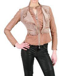 Sonia Villa Tweed and Printed Leather Jacket - Lyst