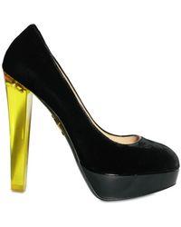 Charlotte Olympia 140mm Velvet Plexi Heel with Stocking black - Lyst