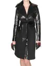 DSquared² Wool and Leather Trench Coat - Lyst