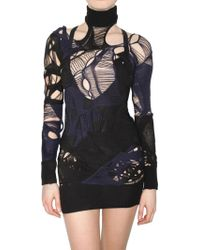 Julien Macdonald Cut Out Wool Knit Dress blue - Lyst