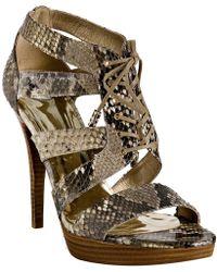 Stuart Weitzman Magnetic Python Gladly Lace-up Platform Sandals - Lyst