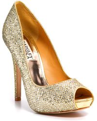 Badgley Mischka Humbie Ii Peeptoe Platform Evening Pumps - Lyst