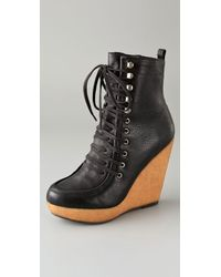 Steven by Steve Madden Narri Lace Up Wedge Booties - Lyst