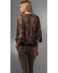 Beyond Vintage Dolman Sleeve Blouse with Lace Back - Lyst