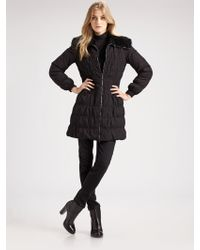 Elie Tahari Fur-trimmed Ruched Coat - Lyst