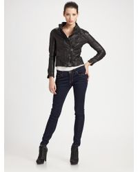 Improvd - Cropped Leather Jacket - Lyst
