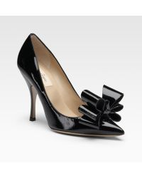 Valentino Patent Leather Bow Pumps - Lyst