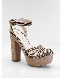 Prada Zebra-print Hair Calf Sandals - Lyst