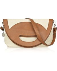 Stella McCartney Fold Over Canvas and Faux-leather Bag - Lyst