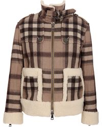 Burberry Brit - Check Jacket with Shearling Trim - Lyst