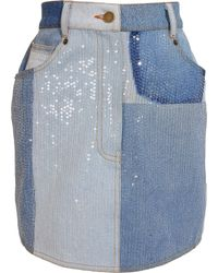 Ashish Sequin Embellished Denim Mini Skirt - Lyst