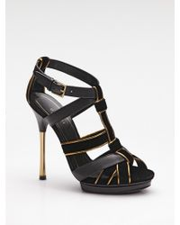 Gucci Malika Leather & Velvet Strappy Platform Sandals - Lyst