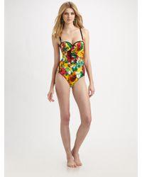 Oscar de la Renta Ruffled Floral-print One-piece Swimsuit - Lyst